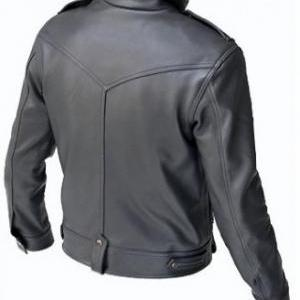 MEN'S BIKER LEATHER JACKET, MEN BLA..