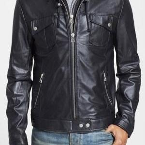 MENS HOODED LEATHER JACKET, MEN BLA..