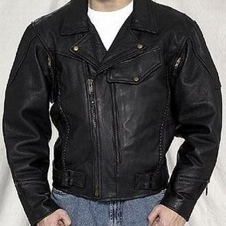 HANDMADE MENS LEATHER JACKET, BLACK..