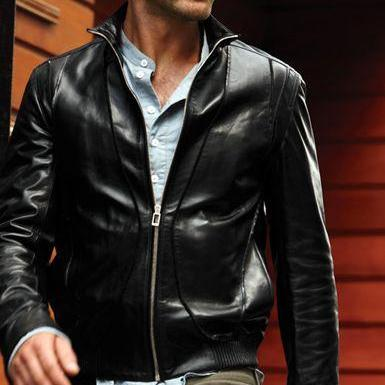 Mens black leather jacket, Men bike..