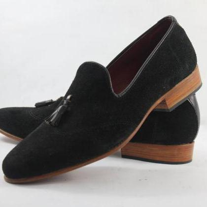 Handmade mens black suede leather m..