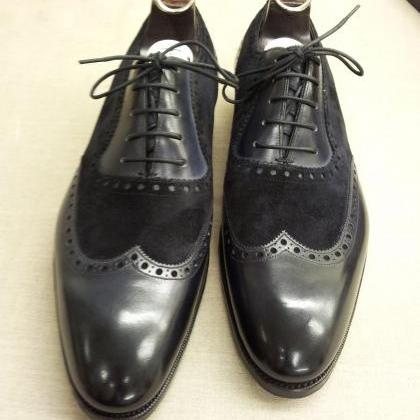 Men handmade black Oxford shoes, Me..