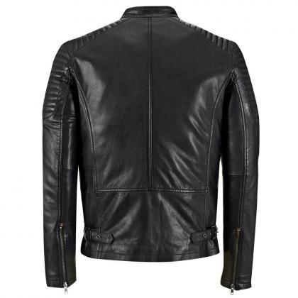 Men black leather jacket, Biker lea..