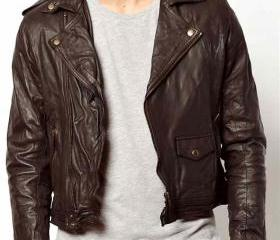 Men brown leather ja..