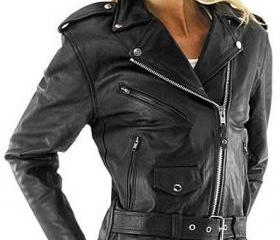 Women biker leather ..
