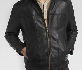 Men bomber leather j..