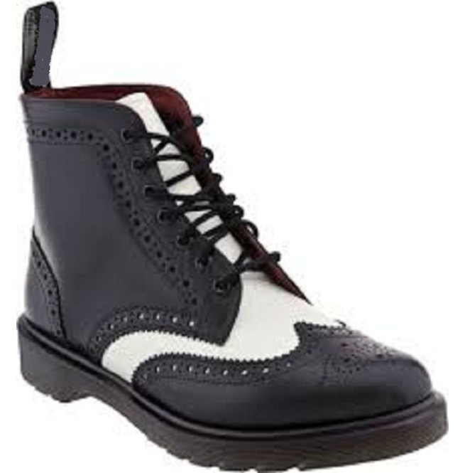 8055bb797c8 New Men Black And White Wingtip Ankle Boot, Men Real Leather Ankle Boots,  Mens Digger Sole Boot