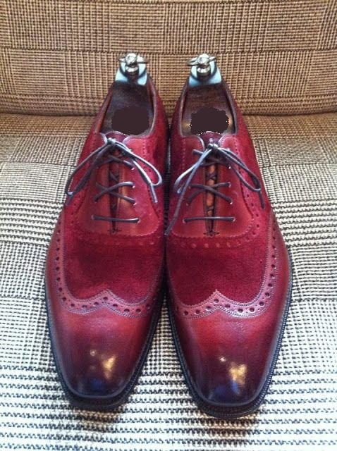 handmade men wingtip burgundy color shoes men suede and leather