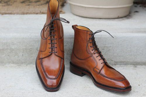 Handmade Tan Brown Men Ankle Leather Boots, Men Lace Up Boots, Mens Boots
