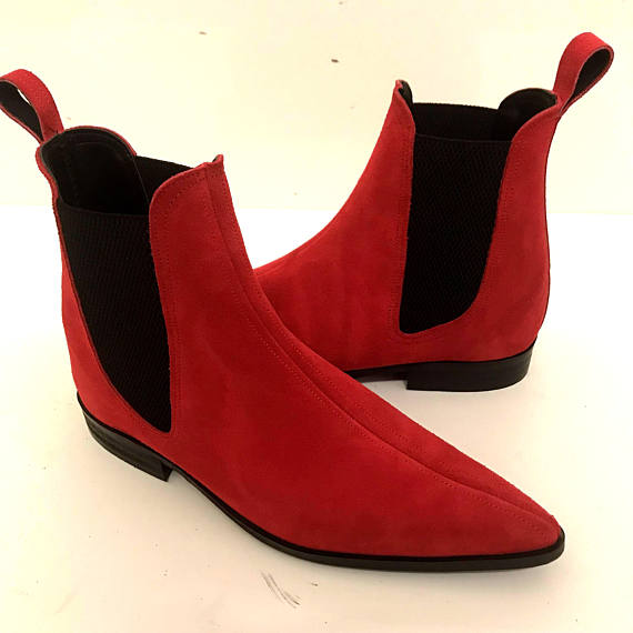 369e6587bab Handmade Men Red Color Suede Chelsea Boots, Mens Red Fashion Chelsea Boot
