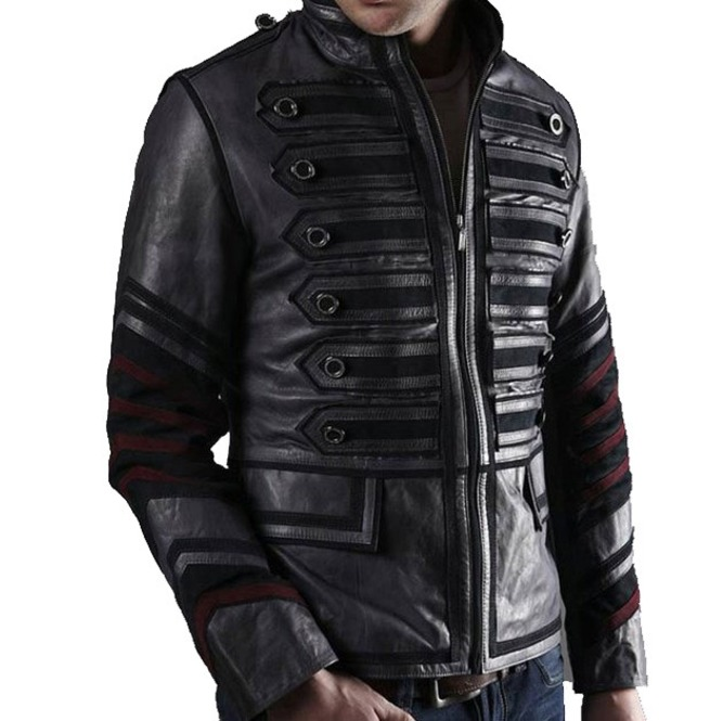 Men Black Military Leather Jacket Men Military Style Jacket ab98969c4e4