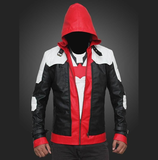Mens Red Hood Jacket, Leather Jacket For Men, Men Leather Jacket For Men