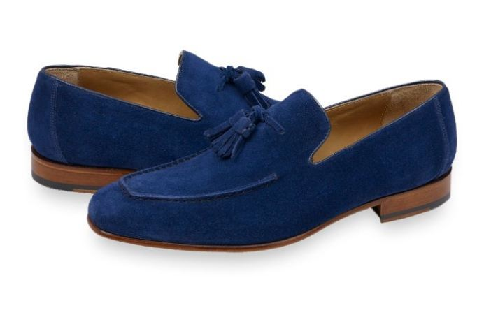 d3797a6ac97a5 Mens Blue Suede Tassels Shoes Moccasins, Men Casual Suede Leather Shoes