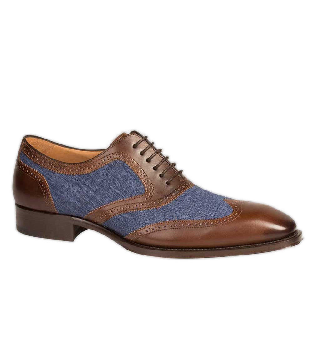 Handmade Men Wingtip Two Tone Formal Shoes, Men Brown And Blue Denim Shoes