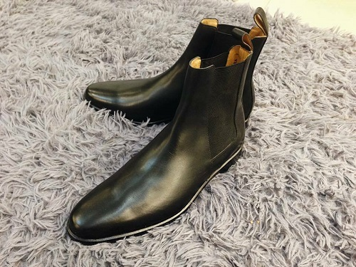 Handmade Classic Mens Black Leather Chelsea boots, Men Casual Leather ankle boot