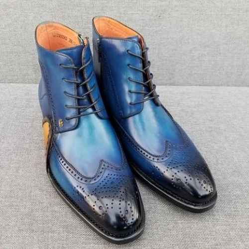 Men Blue Wing Tip Brogue Round Toe Lace Up High Ankle Dress Leather Boots