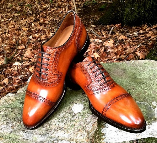 New Men Tan Color Brogue Lace up Leather Dress Formal Business Shoes