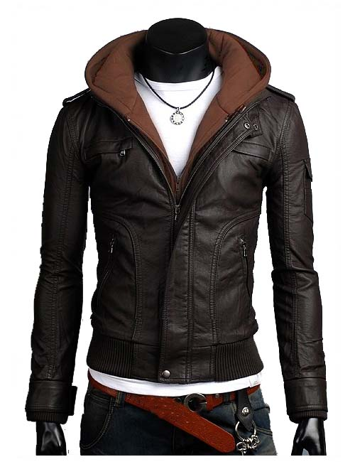 Men brown fabric hooded leather jacket