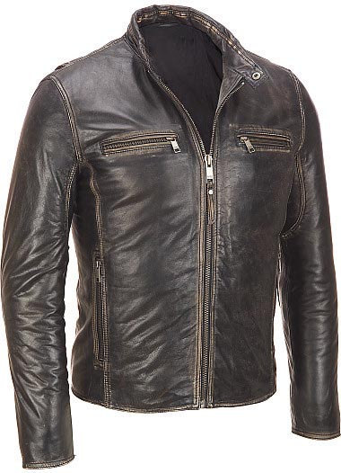 MEN BROWN DISTRESSED BOMBER LEATHER JACKET