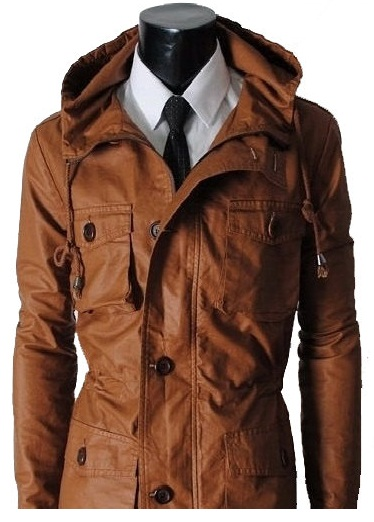 01219f6b Men Brown Hooded Leather Jacket , Men Biker Leather Jacket