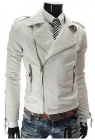 MEN WHITE SLIM FIT LEATHER JACKET,SLIM FIT LEATHER JACKET FOR MEN