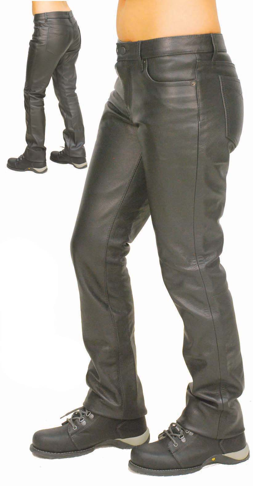 Womens Low Rise Premium Cowhide Leather Pants
