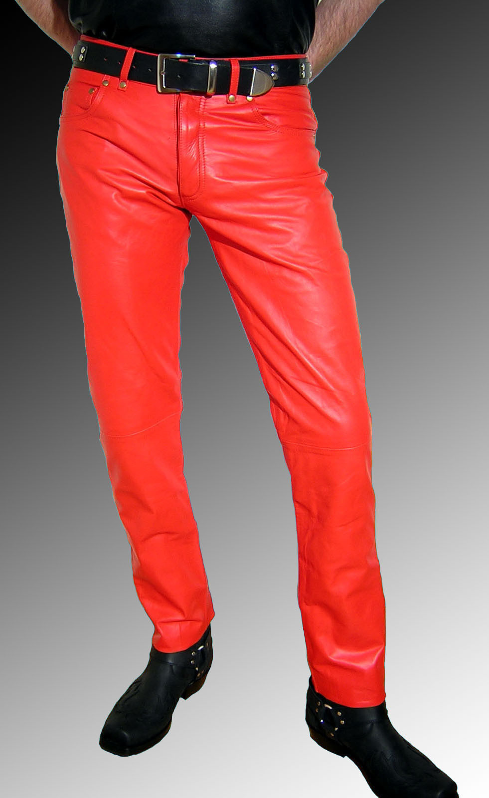 Handmade Men Leather Jeans Red Leather Pants Red Trousers