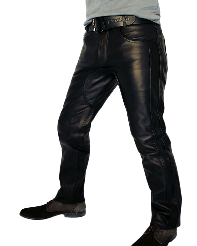 Handmade men leather jeans black leather pants biker trousers for men