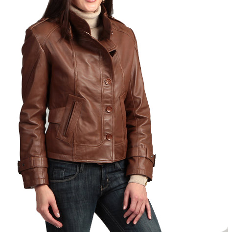 Handmade women brown leather jacket with belted collar