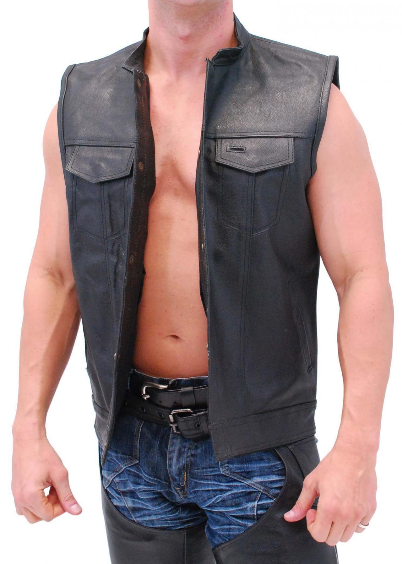 Men real leather vest, black men vest with gun pockets