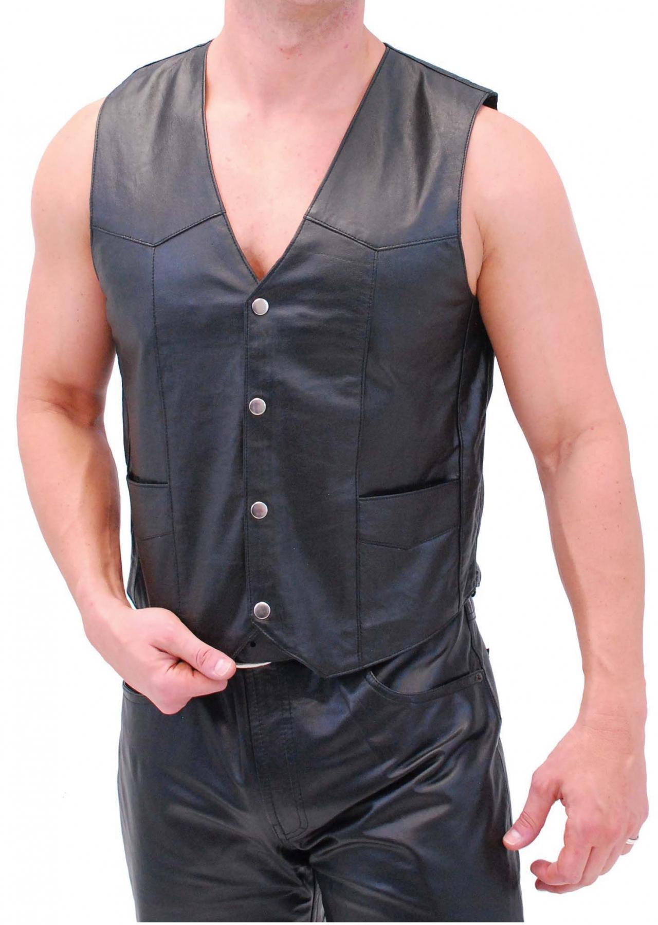 Men real leather vest, men biker leather vest