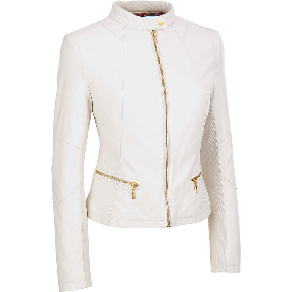 Women White Leather Jacket, Women Biker Leather Jacket on Luulla
