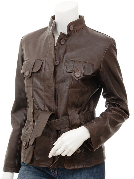 Custom Made Womens Brown Leather Jacket