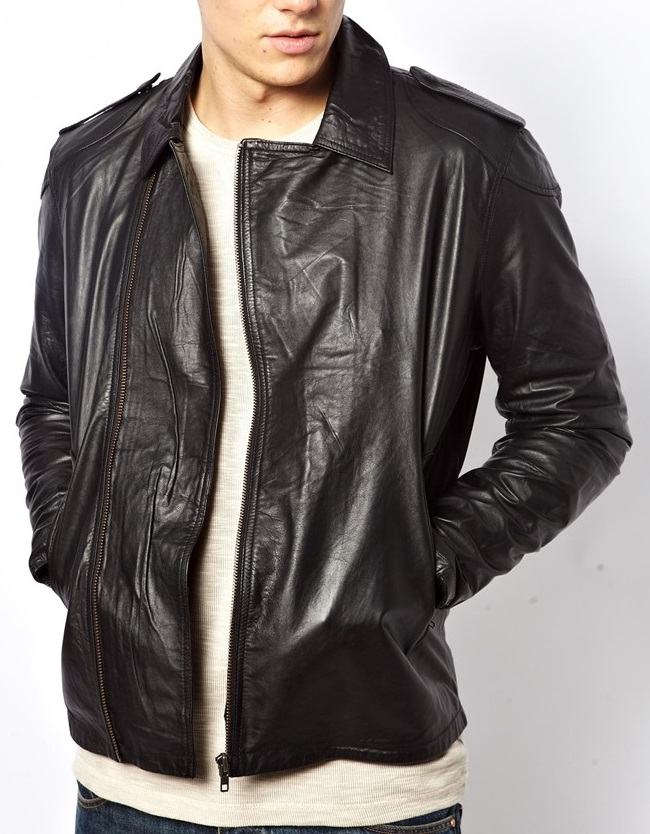 MEN LEATHER JACKET BLACK , REAL LEATHER JACKET