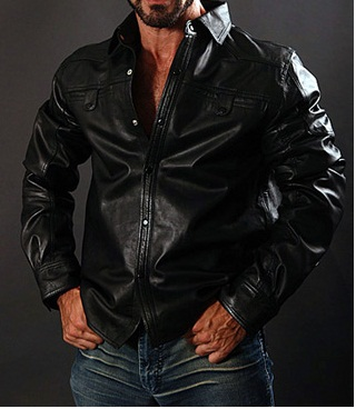 Long Sleeve Leather Shirt, mens shirt in real leather