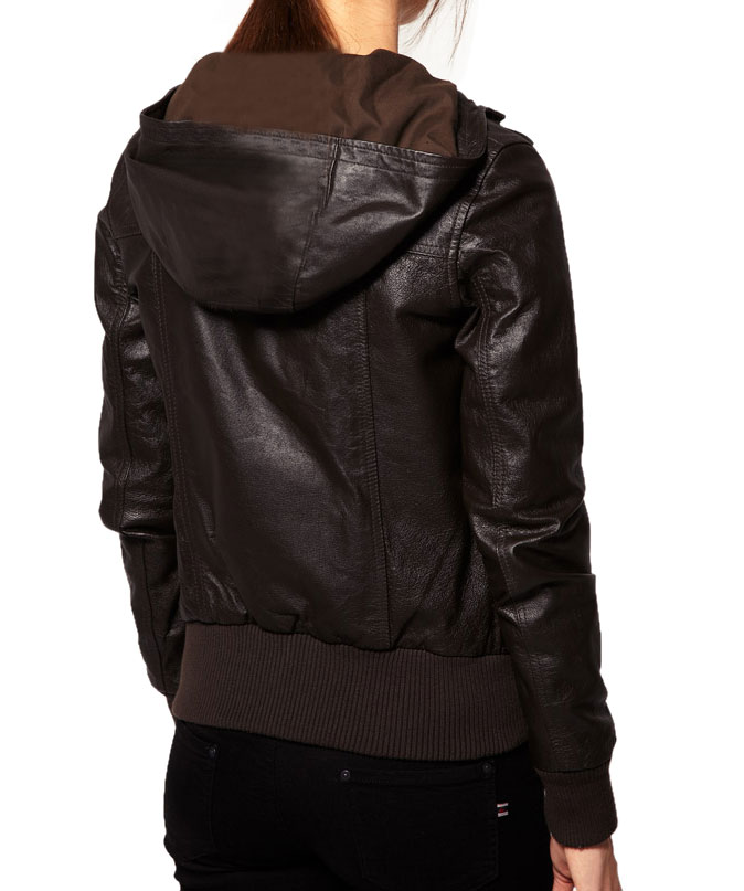Hooded Leather Jacket For Women, Brown Hooded Jacket, Leather ...
