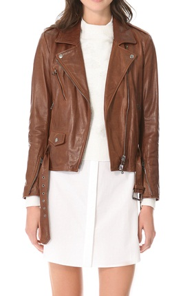 Women's Brown Biker Leather Jacket with Zipper Embellishment