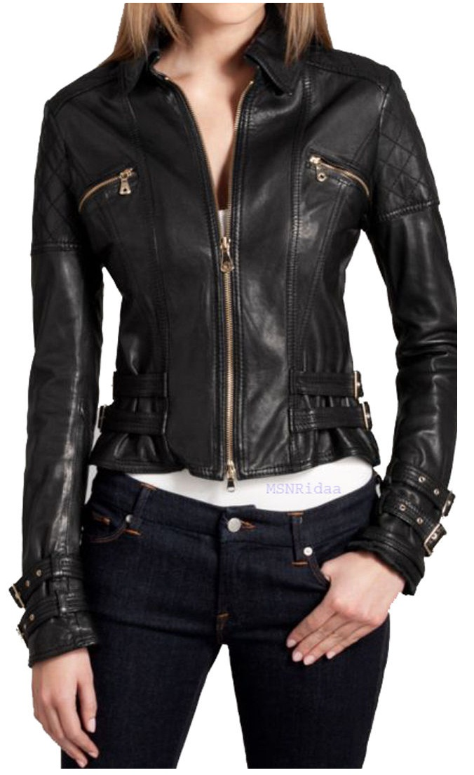 Women Biker Leather Jacket, Black Real Leather Jacket With Buckle ...