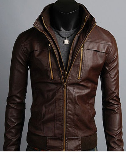 Men s Leather Jackets Korean Style Casual Slim Fit Biker leather jacket mens ba40ce8184b