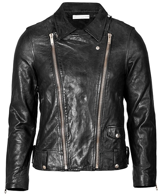 MEN'S BIKER LEATHER JACKET, BLACK JACKET MENS