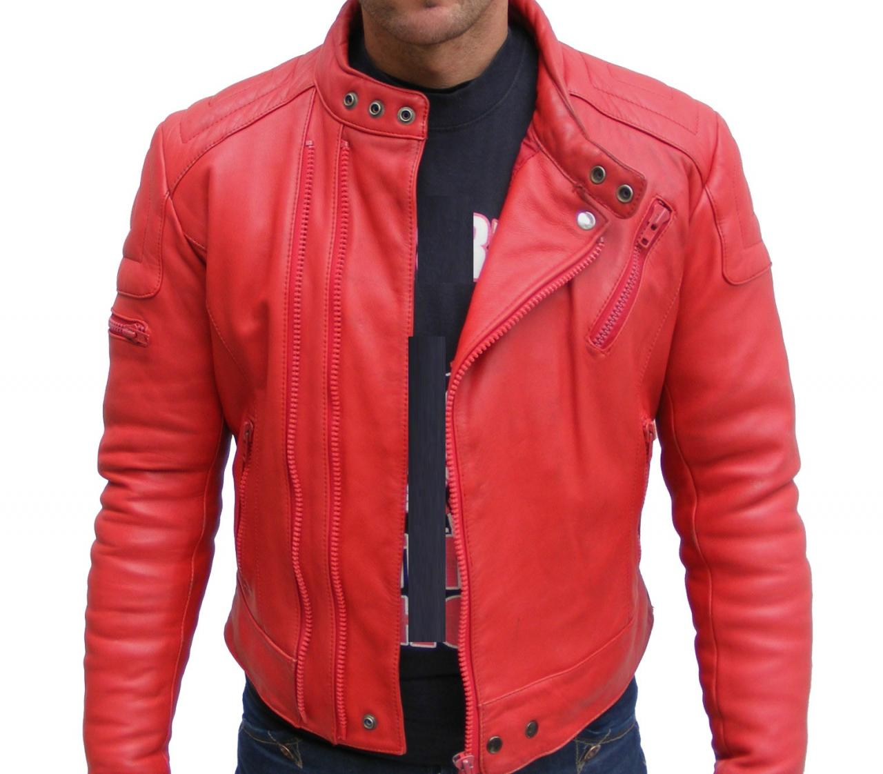 MENS BOMBER LEATHER JACKET, RED COLOR JACKET MEN, LEATHER JACKET MAN