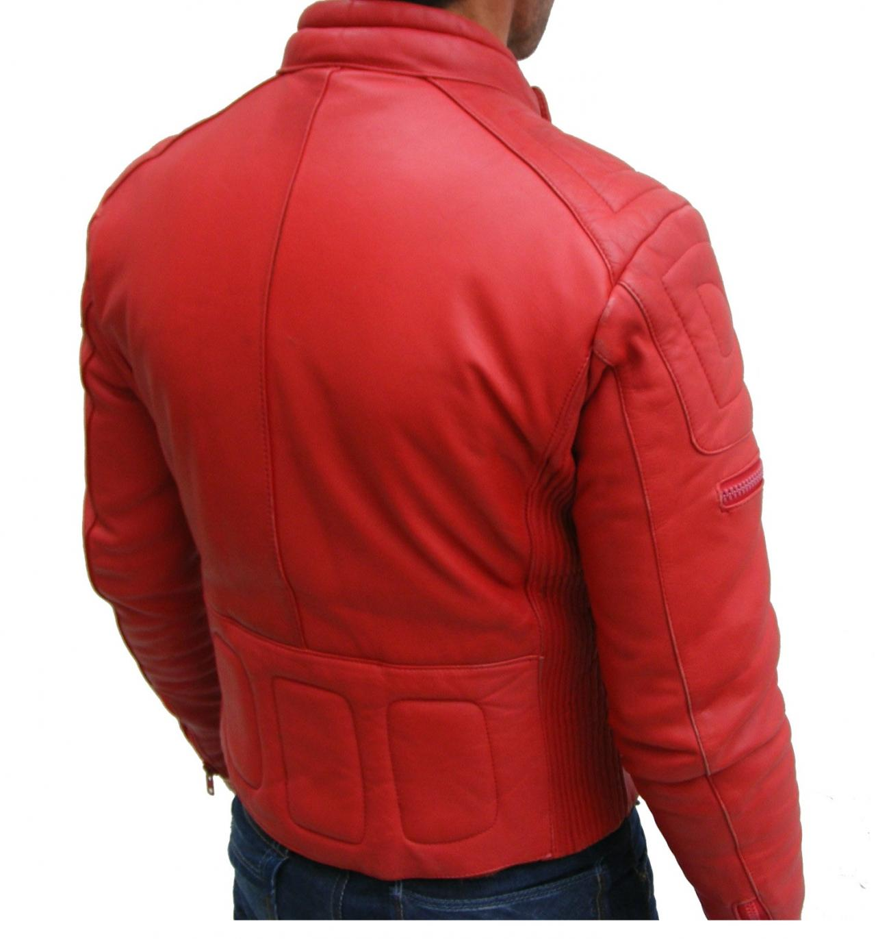 MENS BOMBER LEATHER JACKET, RED COLOR JACKET MEN, LEATHER ...