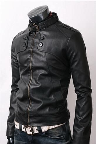 MEN STYLISH SLIM BLACK LEATHER JACKET, MENS BIKER JACKET, LEATHER JACKET MENS