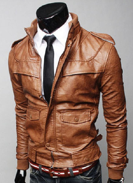 MEN BROWN COLOR LEATHER JACKET WITH RIB COLLAR, MENS SLIM FIT ...