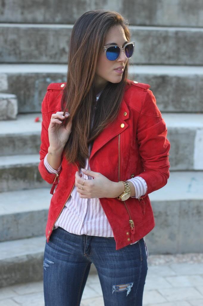 WOMENS BIKER JACKET, RED COLOR WOMEN JACKET, SUEDE WOMEN FASHION JACKET