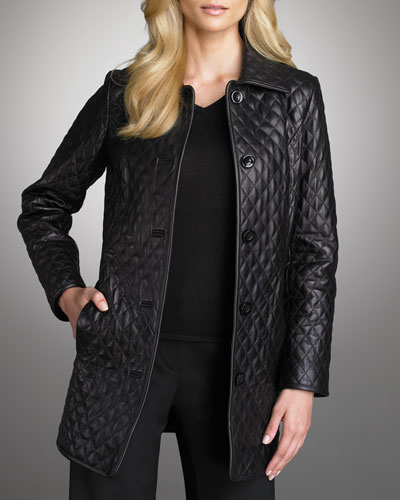 WOMEN BLACK COLOR QUILTED LEATHER COAT, WOMEN'S LONG LEATHER ...