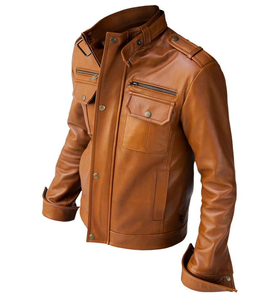 MEN'S BIKER LEATHER JACKET, MEN BROWN LEATHER JACKET, BROWN COLOR ...