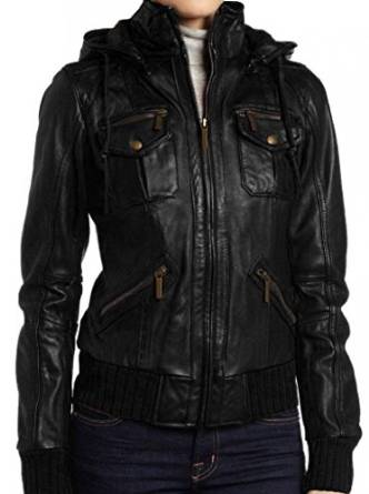 WOMENS HOODIE JACKET, BLACK COLOR HOODED LEATHER JACKET, WOMEN'S LEATHER JACKET