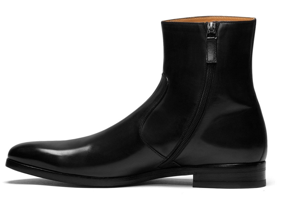HANDMADE MEN LEATHER SIDE ZIPPER BOOTS, MENS GENUINE LEATHER DRESS BOOT,MENS BLACK BOOT