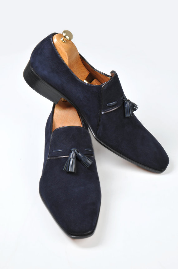 1d25d52bdbdd3 Handmade Men Dress Suede Leather Moccasins,sip Ons, Men Suede Navy Blue  Shoes
